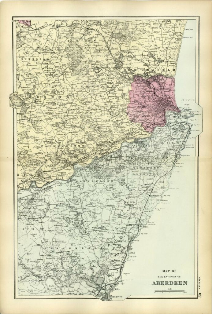 1891 Antique Map ABERDEEN ENVIRONS Houses FARMS Stations RAILWAYS Castles etc. VERY DETAILED